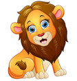 happy lion cartoon sitting vector image vector image