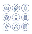 healthcare medical icons on white linear style vector image vector image
