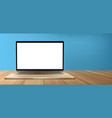 laptop computer with white screen on wooden table vector image vector image