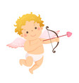 little cupid with bow and arrow vector image vector image