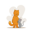love and friendship cat and mouse vector image vector image