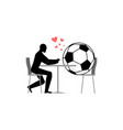 lover soccer football ball and guy in cafe lovers vector image
