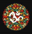 Mandala made of leaves with om sign vector image