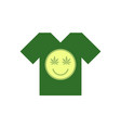 marijuana smiley face cannabis smile green tee vector image vector image