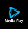 media play blue glowing symbol vector image vector image