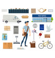 postal service set with postman and post icon vector image