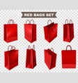 red shopping bags set vector image vector image