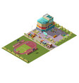 shopping center and stadium isometric vector image vector image
