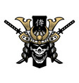 skull samurai helmet and two swords vector image