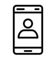 smartphone with contact on screen line icon call vector image vector image