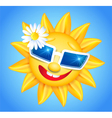 Smiling shines sun in glasses vector image