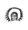 stylized cartoon sketch north american indian vector image vector image