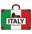 suitcase in colors italian flag vector image vector image