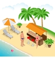 Summer concept of sandy beach Beach summer couple vector image