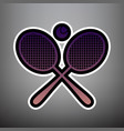 two tennis racket with ball sign violet vector image vector image