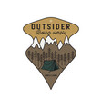 vintage mountain camping scene logo adventure vector image vector image