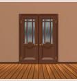 wooden double entrance door vector image vector image