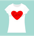 word love lettering red heart t-shirt template vector image