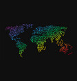 world map made up of small dots rainbow colors vector image