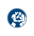 Wrestlers Wrestling Circle Icon vector image