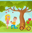 young man proposing to pretty girl in park vector image vector image