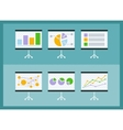 Set of flip chart with drawing business charts vector image