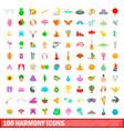100 harmony icons set cartoon style vector image vector image