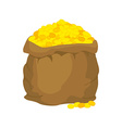Bag of gold Many gold coins Open sack full of vector image
