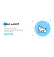 bear market icon banner outline template concept vector image vector image