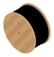 black wire electric cable with wooden coil of vector image