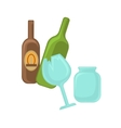 Broken glass jar and green bottle vector image