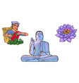buddha statue woman tea picker lotus flower vector image
