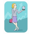 Businesswoman showing graph on smartphone screen vector image