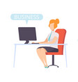 businesswoman working on a computer successful vector image