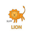 cartoon lion flashcard for children vector image vector image