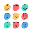cartoon smile face abstract character happy icon vector image vector image