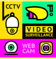 cctv notice set video surveillance vector image vector image