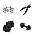 cyclist fitness and other web icon in black style vector image vector image