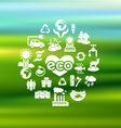 Eco Icons Silhouettes on Blurred Background vector image