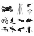 extreme sport black icons in set collection for vector image