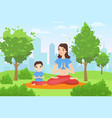 family outdoor yoga in summer park happy mother vector image vector image
