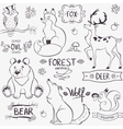 forest animals silhouette vector image
