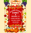 friendsgiving potluck dinner turkey and fruits vector image vector image
