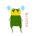 Fun Green Magic Frog Prince Got Stuck in Crown vector image