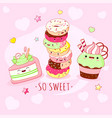 funny background with cute sweet foods in kawaii vector image vector image