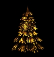 Golden fir tree christmas trace fireworks make vector image vector image