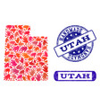 handmade composition of map of utah state and vector image