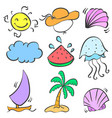 happy holiday summer element doodles vector image vector image