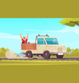 hitchhiking cartoon background vector image vector image