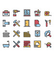home renovation and repair color linear icons set vector image vector image